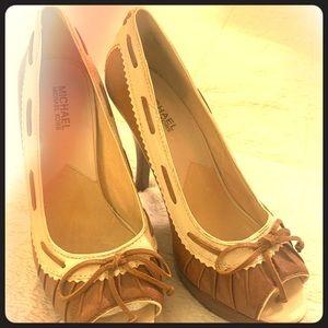 Michael kors wooden platform heels